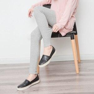 Image 5 - Legging Skinny pour femmes, pantalon gris noir, mignon Kawaii, en coton, extensible, confortable, wk033