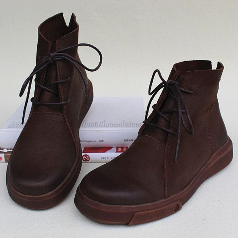 Women s Ankle Boots Autumn Shoes Genuine Leather Lace up Boots Anti slip Rubber Sole Boots
