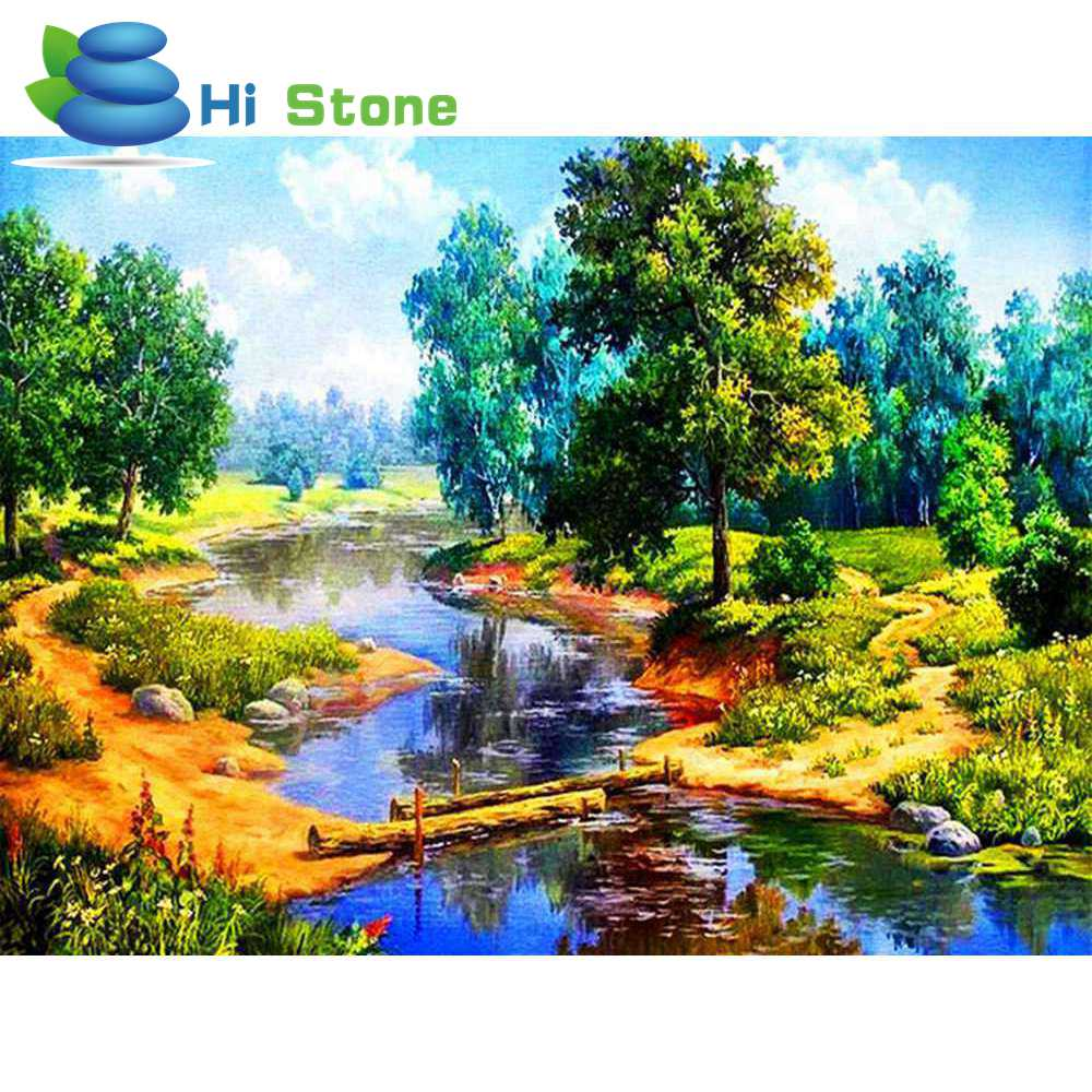 5D DIY Алмаз Живопись лес creek полный квадрат горный хрусталь вышивка крестиком Алмазная вышивка мозаичные украшения подарок