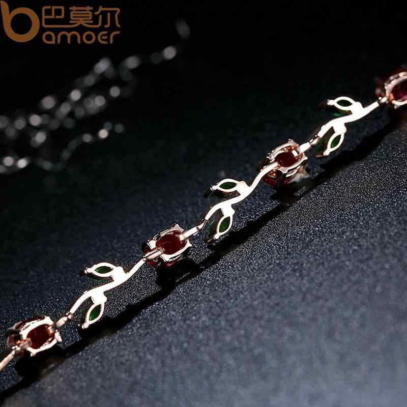 باموير لون الذهب الوردي ورقة سلسلة و ربط سوار مع الأحمر + الأخضر AAA الزركون للمجوهرات هدايا الأم JIB072