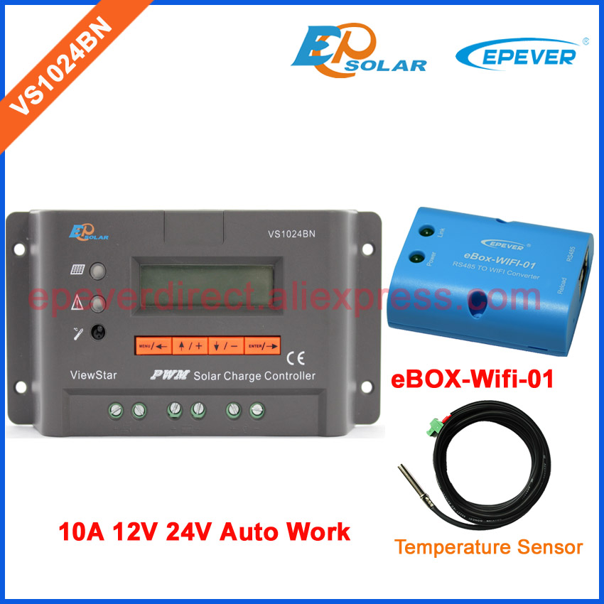 VS1024BN+eBOX-Wifi-01 PWM EPSolar EPEVER Solar controller with temperature sensor 10A 10amps controller has LCD display 20a vs2024bn pwm solar regulator 20amp 24v wifi box ebox wifi 01 epever controller temperature sensor epsolar charger