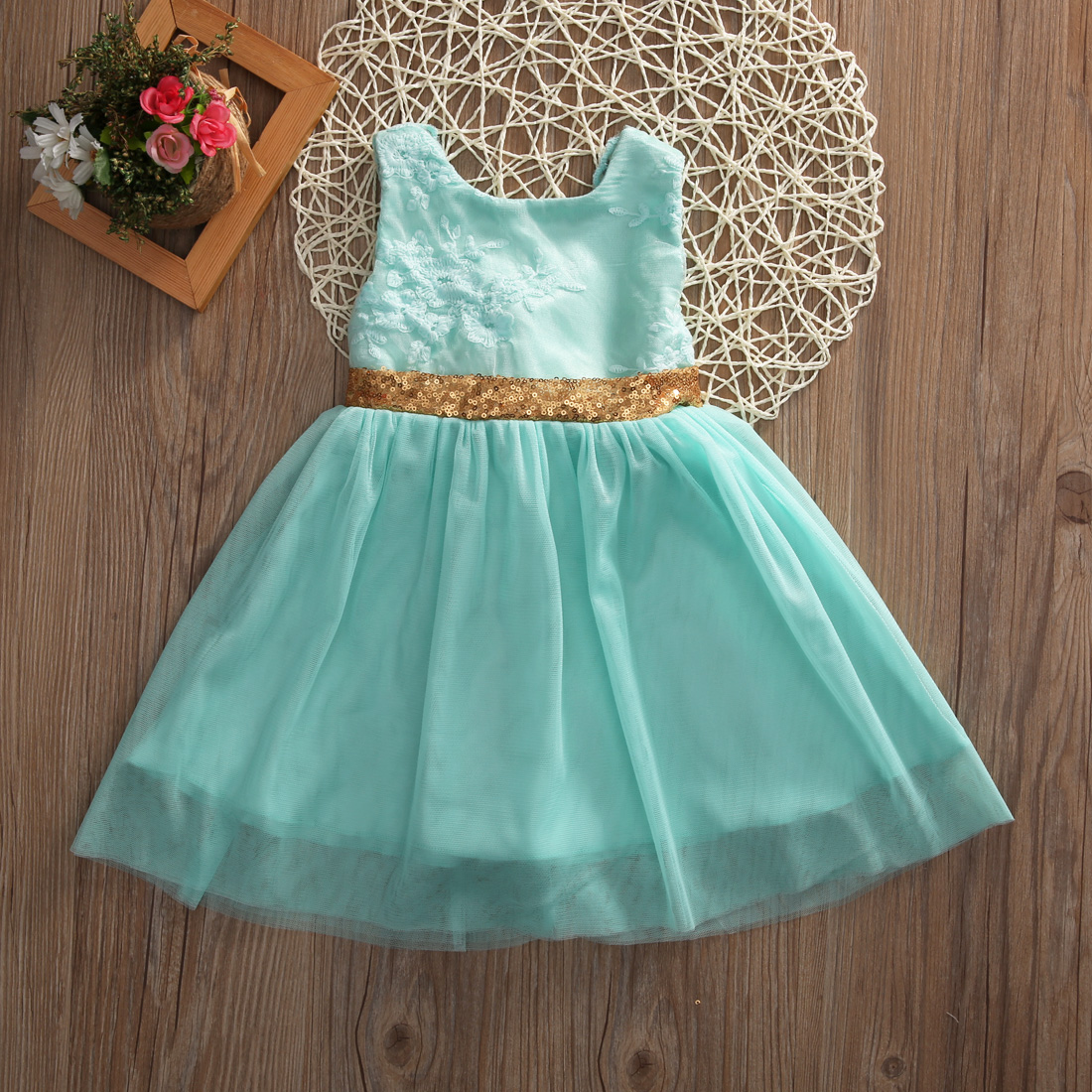 Flower Girl Kid Princess Dresses Cute summer Sleeveless embroidery Green Bowknot Wedding Party Formal Sequin Ball Gown Dress
