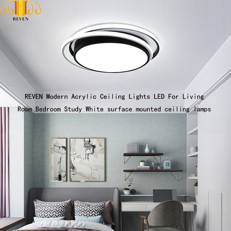 REVEN Modern Acrylic Ceiling Lights LED For Living Room Bedroom Study White surface mounted ceiling lampsREVEN Modern Acrylic Ceiling Lights LED For Living Room Bedroom Study White surface mounted ceiling lamps