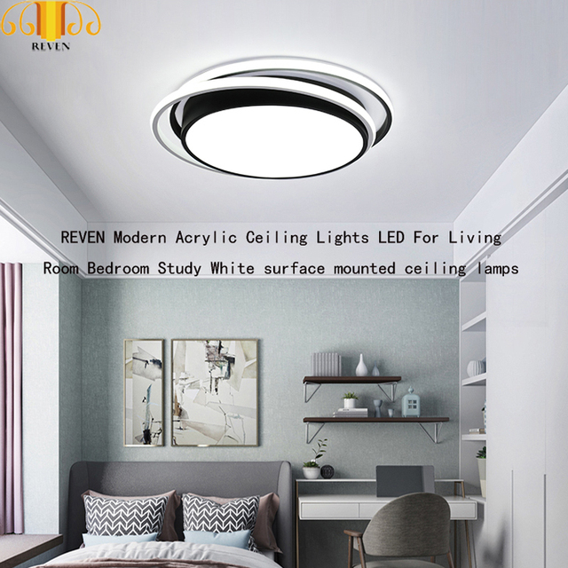 REVEN Modern Acrylic Ceiling Lights LED For Living Room Bedroom Study White surface mounted ceiling lamps