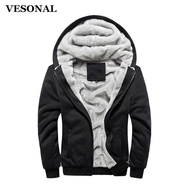 VESONAL Autumn Winter Male Jakcket Moleton Velvet Hoodie Casual Men Jacket Coat Warm Soft Male Moletom Mens Jackets Hooded