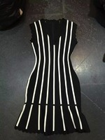 Top Quality Celebrity HL White Vertical Stripes Black Rayon Thick Bandage Dress Cute Cocktail Party Dress