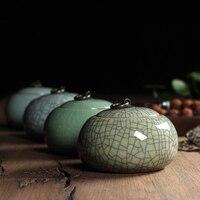 4 ColorsTop Grade Crackle Glaze Longquan Celadon Ceramics 405g Capacity Eco Friendly Tea Caddy Tea Canister