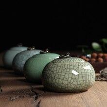 1PCS Top Grade Crackle Glaze Longquan Celadon Ceramics 405g Capacity Eco-Friendly Tea Caddy Tea Canister Tea Porcelain Jar