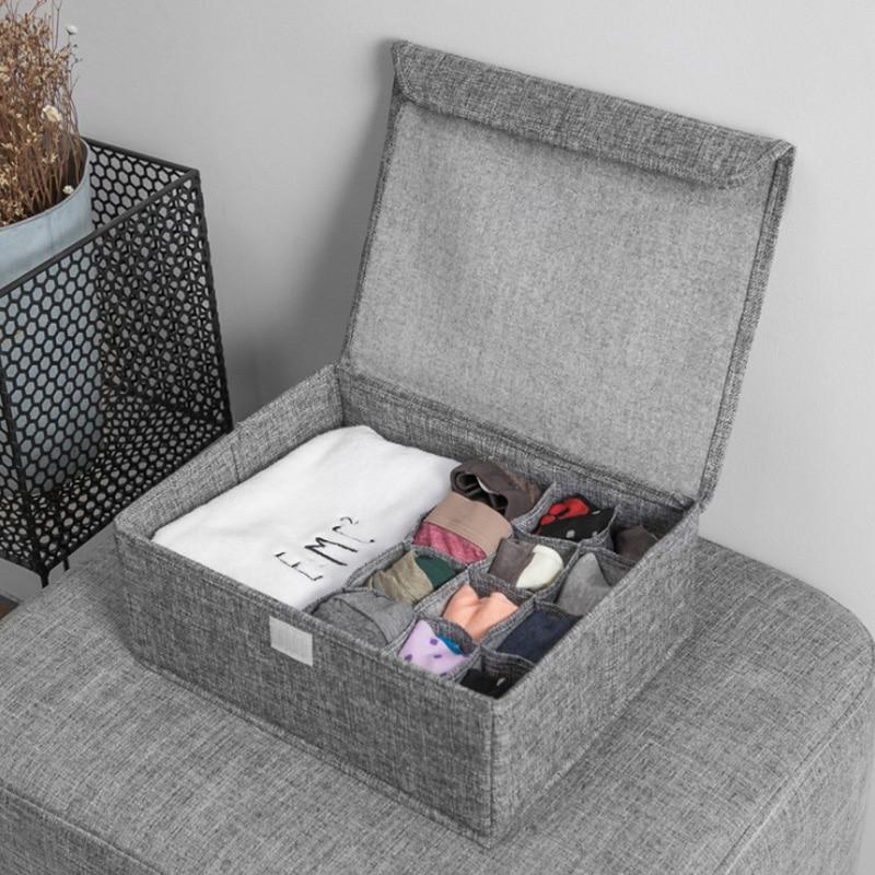 Washable Bra Underwear Storage Box With Cover linen Folding Cases Necktie Socks Underwear Clothing Organizer Container(China)