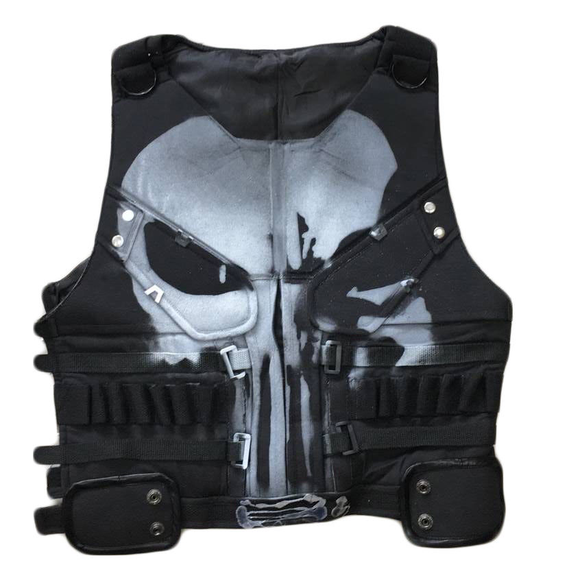 The Punisher Costume Frank Castle Cosplay Vest Daredevil Skull Ghost Vest Tank Top Marvel Halloween Men Outfit Props Custom Made
