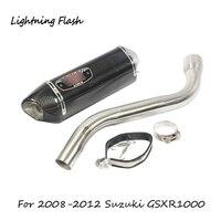 Для 2008 2009 2010 2011 2012 Suzuki gsx r 1000 мотоциклов выхлопных Системы 51 мм Mid Соединительная труба + углеродного волокна хвост Escape слипоны
