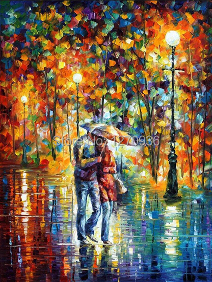 3fd5b56f9 Handpainting الصور المشهد جدار الفن ديكور قماش اليدوية مجردة سكين الملونة  زوجين المشي ممطر شارع النفط الطلاء