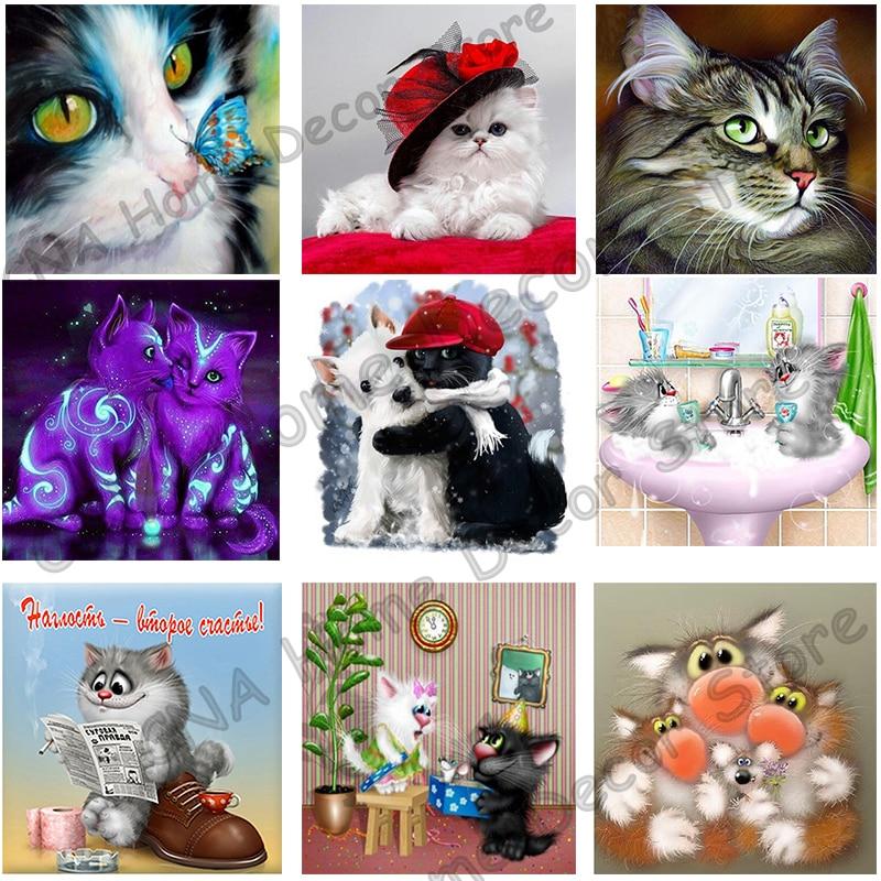 Katter Drill Harpiks Bånd Mosaikk 5D Diy Broderi Diamantmaleri Dyr - Kunst, håndverk og sying