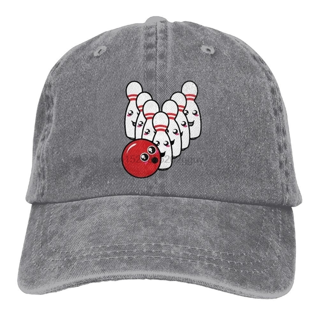 Funny Cap Cute Bowling Ball Denim Baseball Caps Unisex Dad Hats Trucker Hat  Black ca66ed5b984a