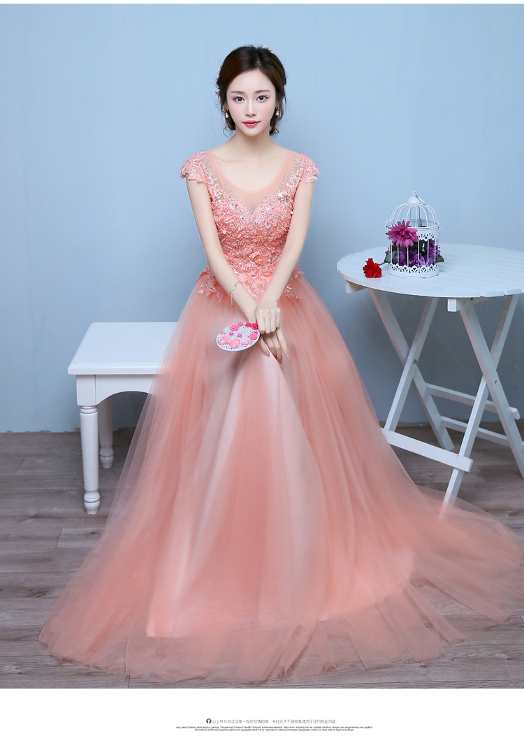 100%real champagne pink full ruffled embroiderymedieval dress ...