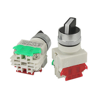 Two 2 Position Rotary Select Selector Switch 22mm 7/8 1 N/O 1 N/C