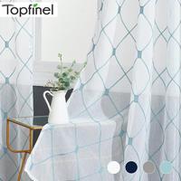 Topfinel геометрический узор дизайн вышитые белые прозрачные Занавески вуаль тюль окна шторы для кухни гостиной спальни