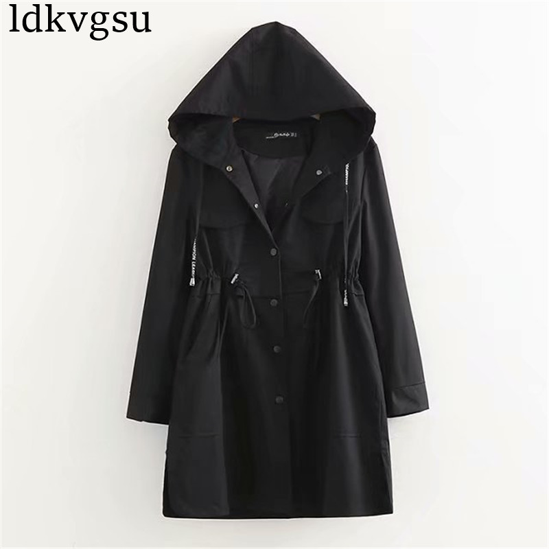 2019 NEW Spring Autumn   Trench   Coats Women Hooded Outerwear Large Size Korean Loose Waist Long Windbreaker Female V222