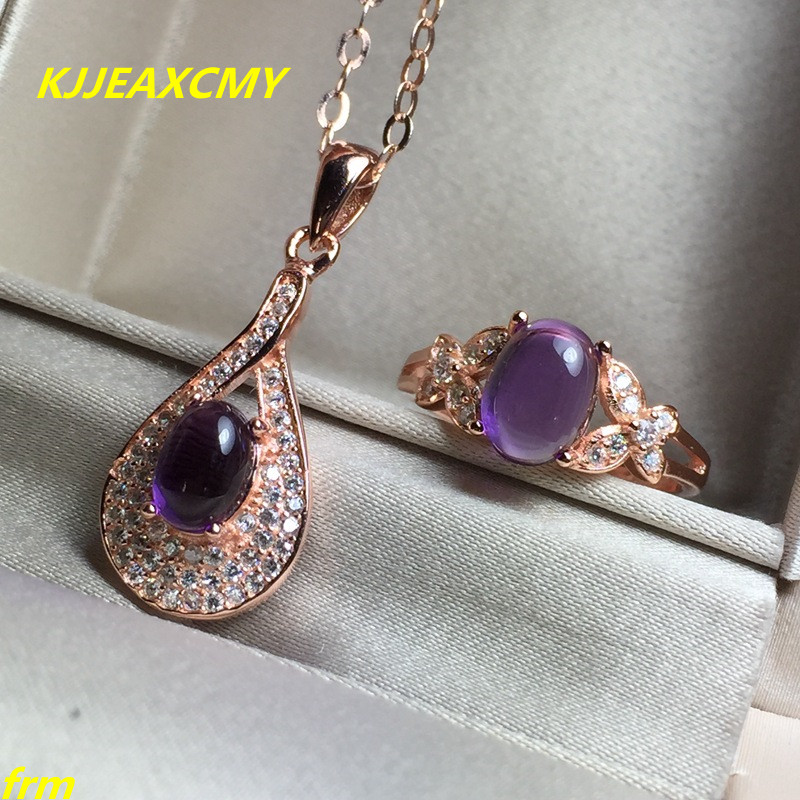 KJJEAXCMY Fine jewelry, Sterling Silver Inlaid Natural Amethyst Ladies Ring Necklace Set kjjeaxcmy fine jewelry 925 sterling silver inlaid natural amethyst ring wholesale opening ladies adjustable support testing