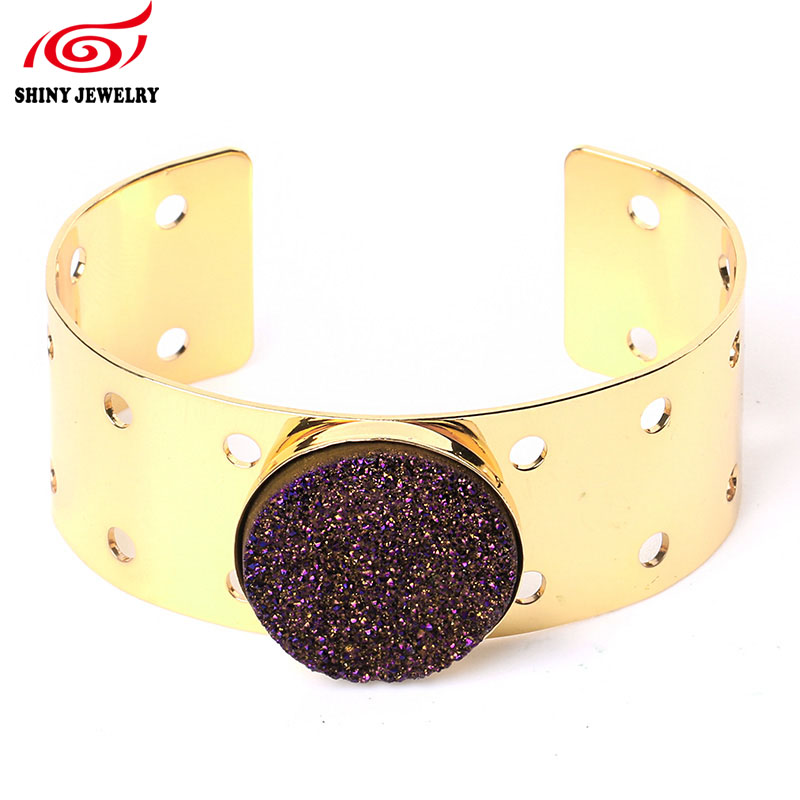 Fashion Carter Love Bracelet Metal Gold Plating Quartz Druzy Titanium Agates Druzy Geode Natural Stone Jewelry Adjustable Bangle