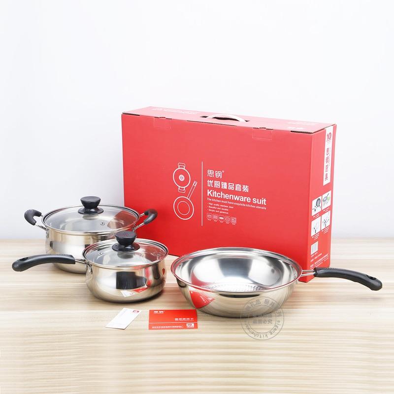 Batterie de cuisine en acier inoxydable ensemble cadeau cuisine 5 pièces ensembles 22 cm Pot à soupe 18 cm Pot de lait et 4 cm poêle cuisine outils de cuisson ensemble - 3