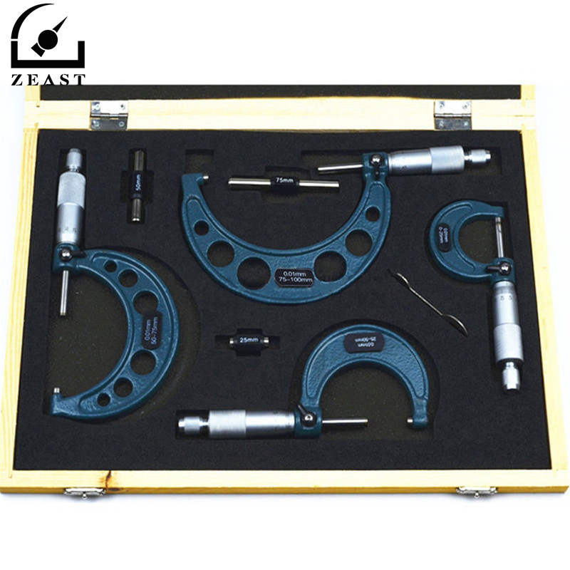 Brand New 4Pcs Outside Micrometer Set Ratchet Stop Type 0-100mm (0-25mm/25-50mm/50-75mm/75-100mm) Metal Gauge Standards Caliper best 0 25mm 0 01mm gauge outside metric micrometer tool with metal for mechanist caliper tool brand new hot sale