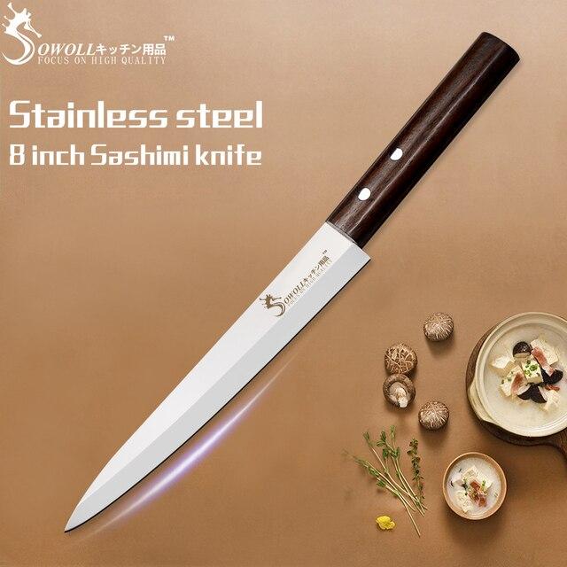 SOWOLL 8 polegada Sashimi Faca de Aço Inoxidável Faca de Cozinha Profissional Faca Punho de Madeira de Cor Acessórios de Cozinha Nova Chegada