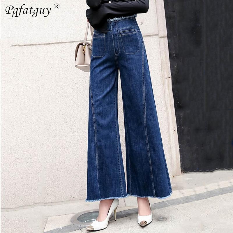 Spring Jeans Straight Denim Size Plus Washed 2019 Burr Vintage Waist Wide Hem Blue Trousers Female Leg High Woman Pants qdH1xw