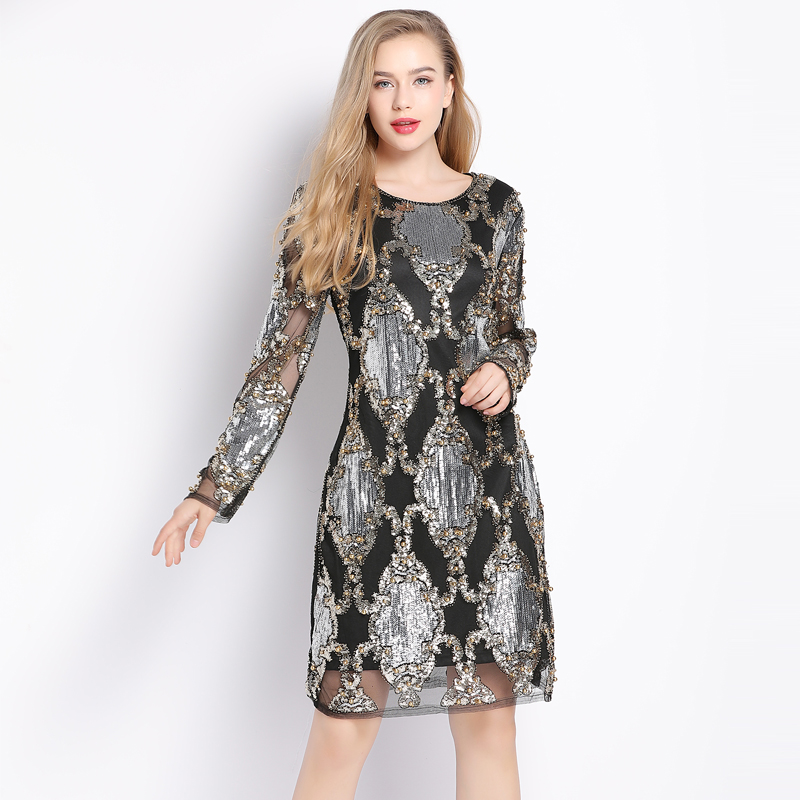 <font><b>2018</b></font> <font><b>Luxury</b></font> Designer Women <font><b>Sexy</b></font> See-Though Mesh Vintage Shift <font><b>Dress</b></font> Long Sleeve Beaded Diamond Embroidery Sequin Party <font><b>Dress</b></font> image