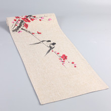 Hand Painting Flower Bird Chinese Burlap Table Runner Decoration Christmas Cloth Rectangular Coffee Tea Mat Placemat