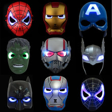 LED Gloeiende Super Hero Masker De Avengers Spiderman Captain America Iron Man Hulk Batman Party Cosplay Halloween Masker Speelgoed(China)
