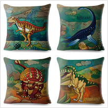 Jurassic Dinosaur Animal Throw Pillow Cover 45*45cm Cushion Covers Linen Pillows Cases Sofa Home Decor Cartoon Pillow Case