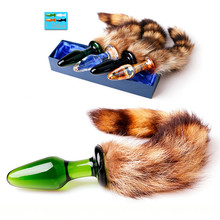 ORISSI Adult Anal Sex Toys Fox Tail Glass Anal Plugs Sex Products For Couple Unisex Cosplay Novelity Tools Butt Plug