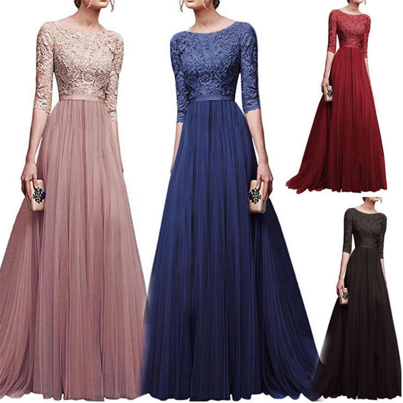 214dcfab257 Detail Feedback Questions about Women Dress Elegant Lady Dresses Gown  Formal Dress Women Office Long Summer Boho Dresses European Amazon Robe  Dentelle ...