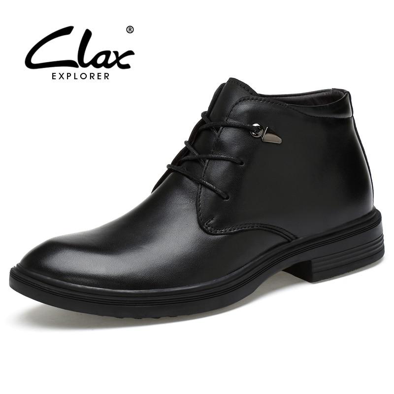 CLAX Men Dress Boots Genuine Leather 2017 Winter Black Formal Shoes Male Handmade Snow Shoe Plush Fur Warm Footwear Big Size