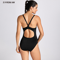 SYROKAN Women S Sleek Solid Elite Training Suit Sporty Athletic With Cups Padded One Piece Swimsuit