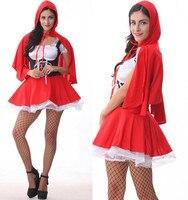 Sexy Lingerie De Noël Halloween Cosplay Rouge Chapeau Uniforme Robe Set Femmes Vêtements Sans Bas 2017 Chaude Babydoll