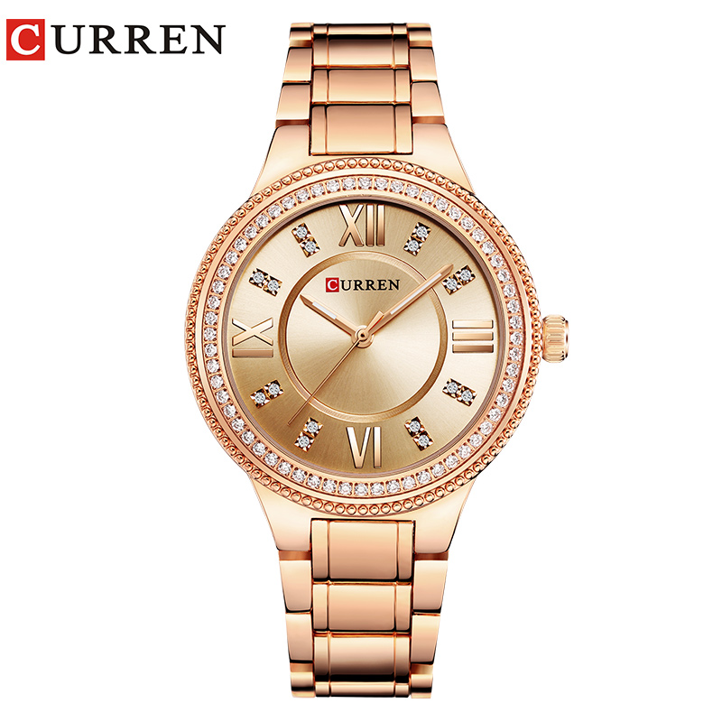 CURREN Brand Luxury Women's Casual Watches Waterproof Wristwatch Women Fashion Dress Rhinestone Stainless Steel Ladies Clock