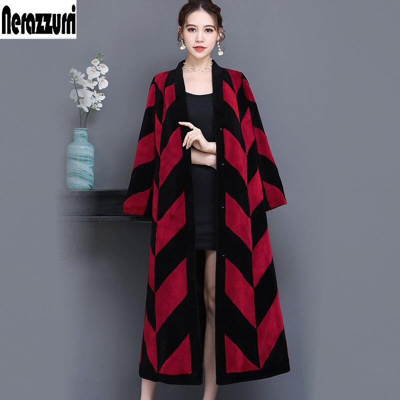 Nerazzurri Real piel de oveja de abrigo de mujer de bloque de color extra largo elegante natural oveja de piel de cordero abrigo plus tamaño 5xl 6xl 7xl