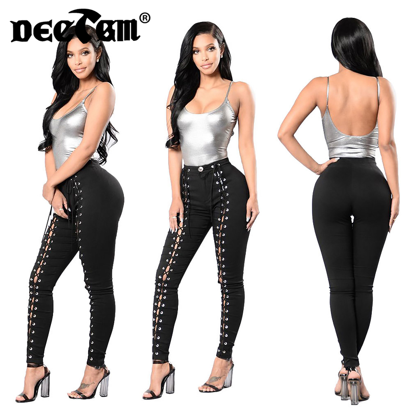 S-3XL Plus Size Women Jeans Stretch Skinny Bandage Jeans Female High Waist Hip Up Denim Jeans Women's Casual Pencil Pants Black