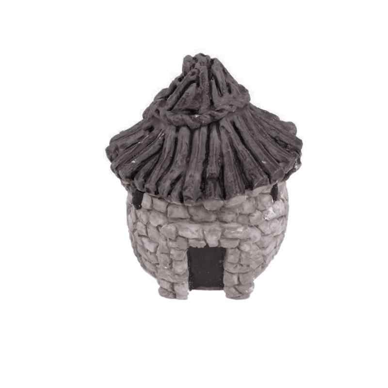 Aquarium Ikan Tangki Ornamen Resin Thatched Cottage Mini Lanskap Dekorasi 4.3X2.5 Cm Ungu Muda