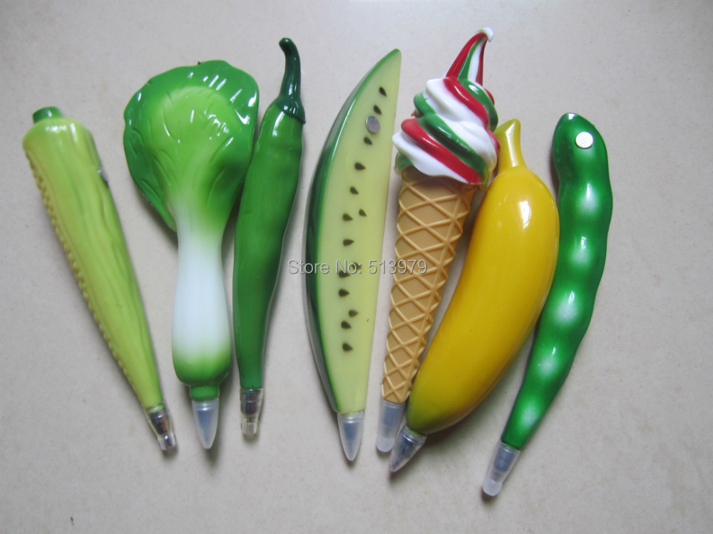 20pcs/lot Hot high quality  fresh plastic ABS vegetables ball pen fruit ,lovely and pens