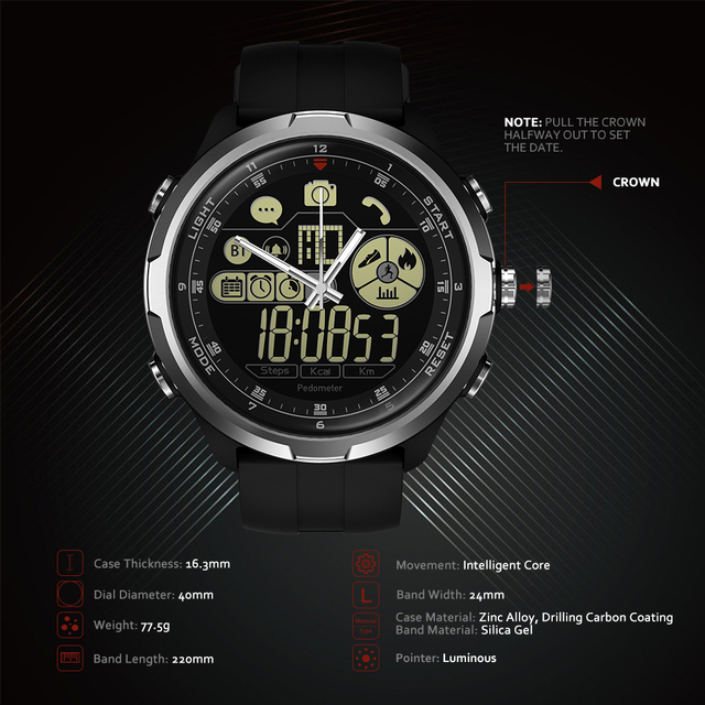 Zeblaze VIBE 4 HYBRID Rugged Hybrid Smartwatch 50M Waterproof 12-month Standby Time 12h All-Weather Monitoring Smart Watch Men