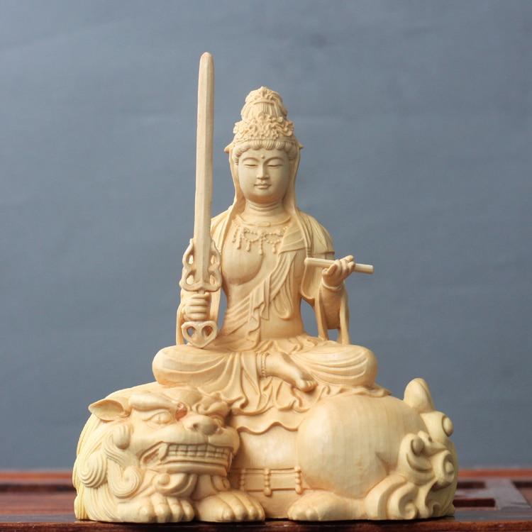 Legno di bosso Intagliare Statue di Buddha In Legno Massello Manjusri Bodhisattva Dea Manjuist Samantabhadra Artigianato Doni Decorazioni Figura-in Statuine e miniature da Casa e giardino su  Gruppo 1
