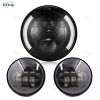 Motorcycle 7inch LED Protection Headlight Angel eye White DRL Amber Turning color 4.5Inch LED Fog Light
