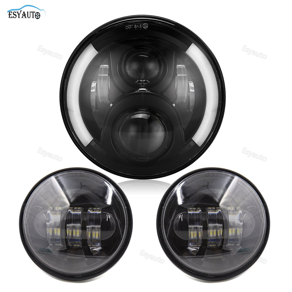 Motorcycle 7inch LED Protection Headlight Angel eye White DRL Amber Turning color 4.5Inch LED Fog Light for Harley Davidson