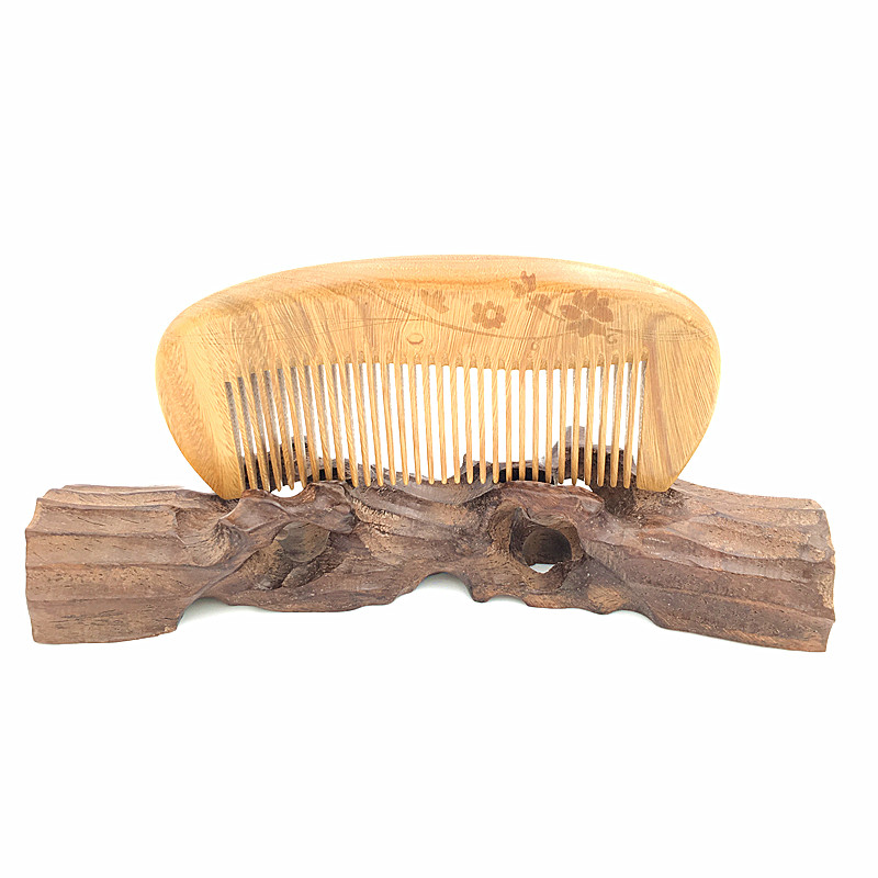 Natural Green Sandalwood Carving Comb Whole Wood Hair Brushes Peigne with Free Velvet Pouch L-725