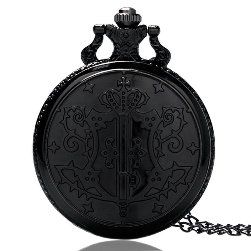 Reloj Mujer Japanese Kuroshitsuji Black Butler Sebastian Theme Quartz Pocket Watch Retro With Necklace Chain Free Drop Shipping