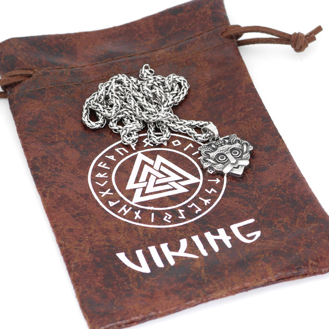 STAINLESS STEEL ODIN FACE AMULET RUNE NECKLACE