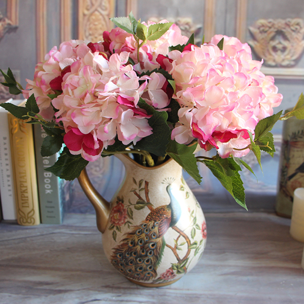 Wine Red Rose Fl 1 Bouquet Artificial Peony Flower Arrangement Room Hydrangea Wedding Decor Party In Dried Flowers From Home Garden On